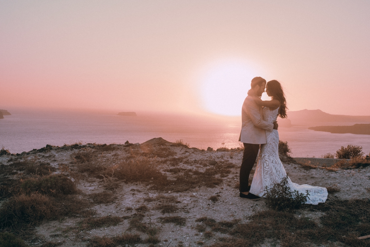 Santorini Romance Wedding | Coachella Post Wedding Event @ Thermes Luxury Villas